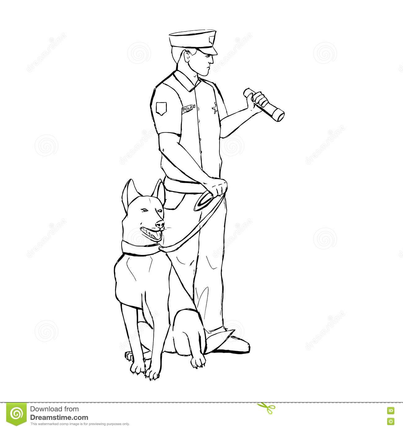 Police Officer With Dog Stock Illustration Image Of