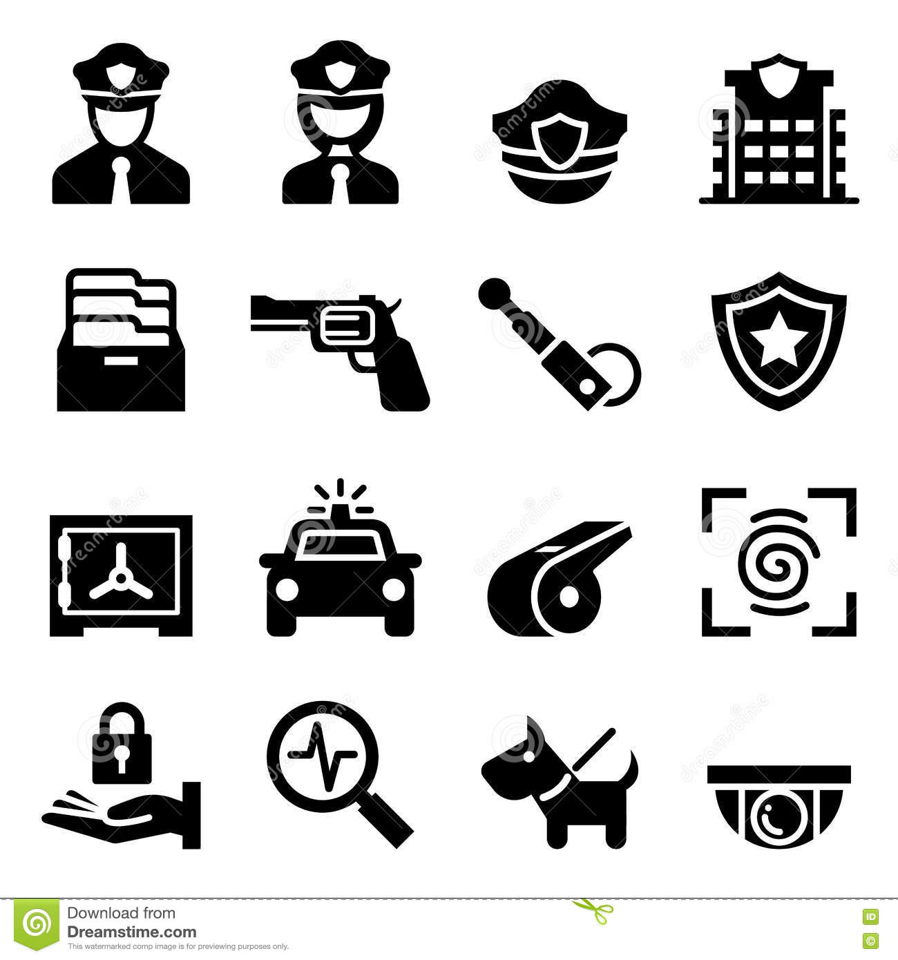 Police Amp Security Guard Icon Stock Illustration
