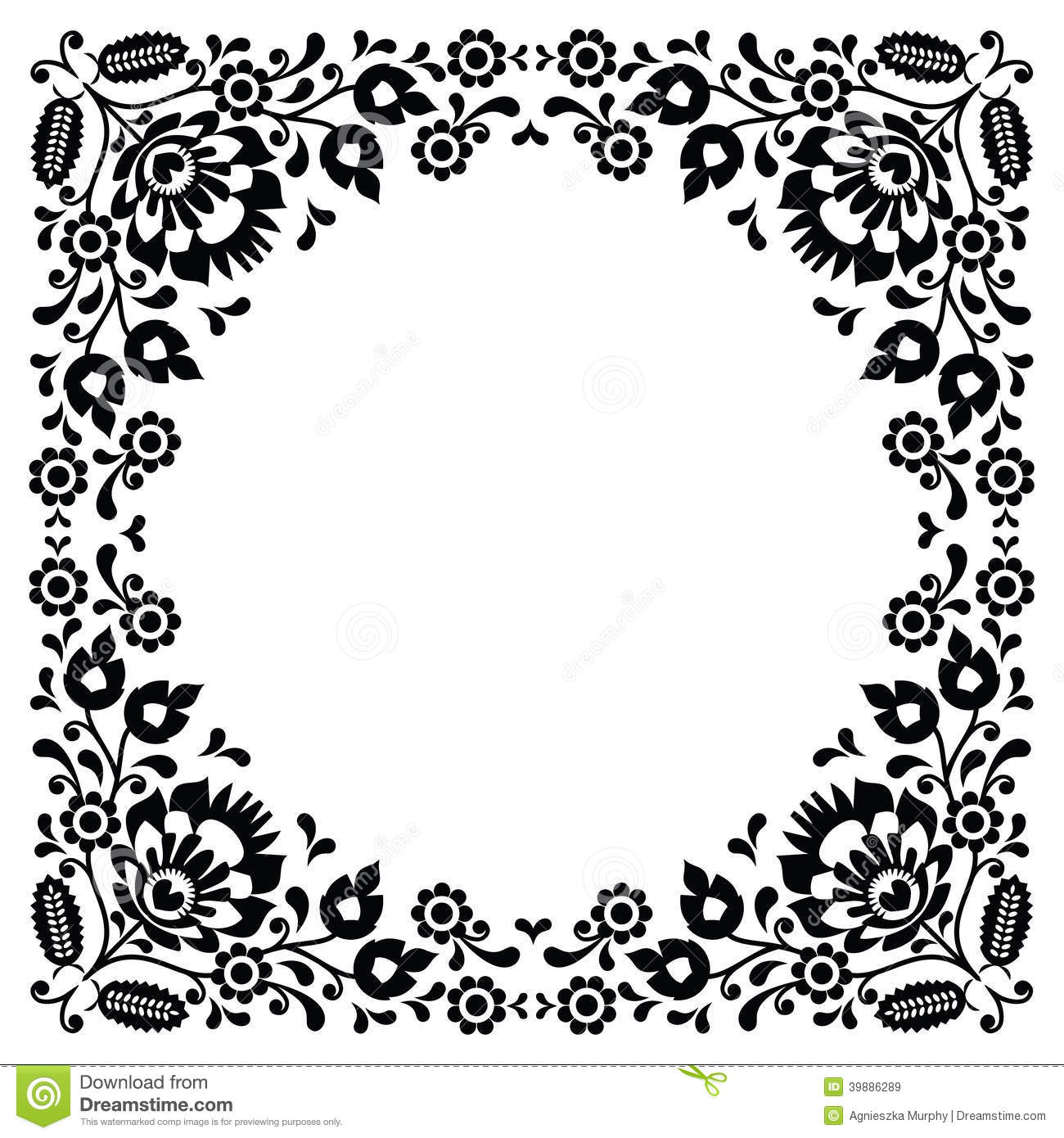 Polish Floral Folk Black Embroidery Frame Pattern