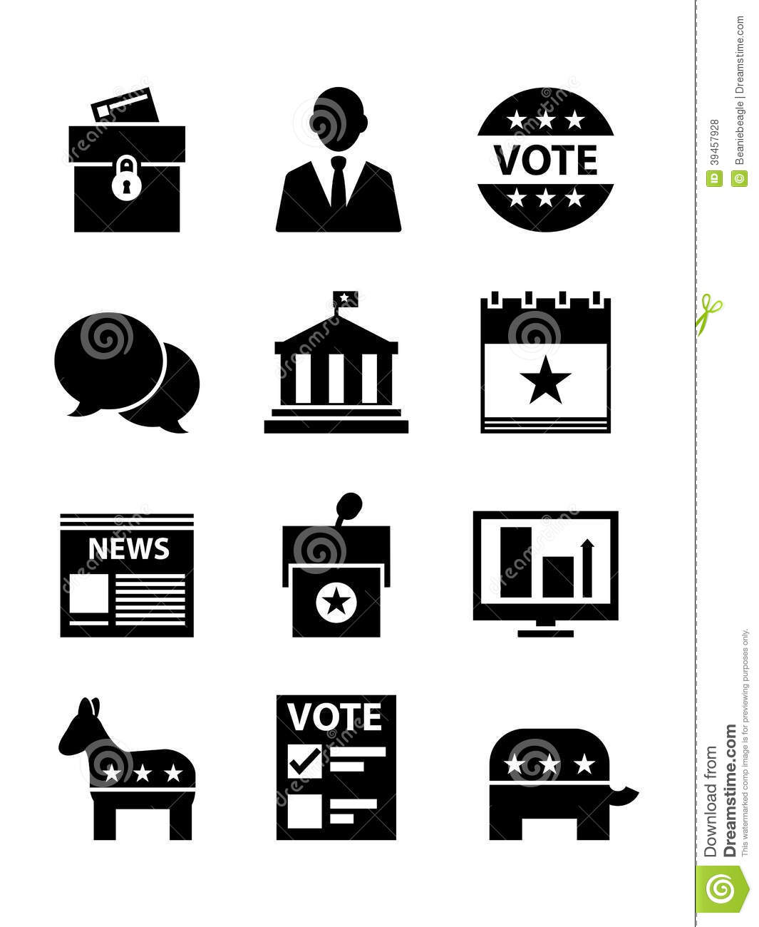 Political Icons Set Editorial Stock Photo Illustration Of
