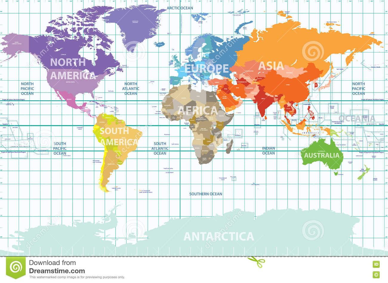 Political Map Of The World With All Continents Separated By Color Labeled Countries And Oceans And With Enumerated Longitudes An Illustration 72753560 Megapixl