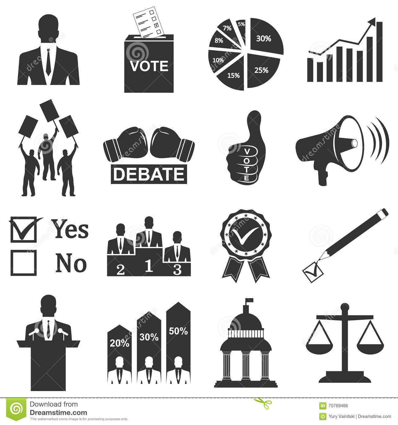 Politics Voting And Elections Icons Stock Vector