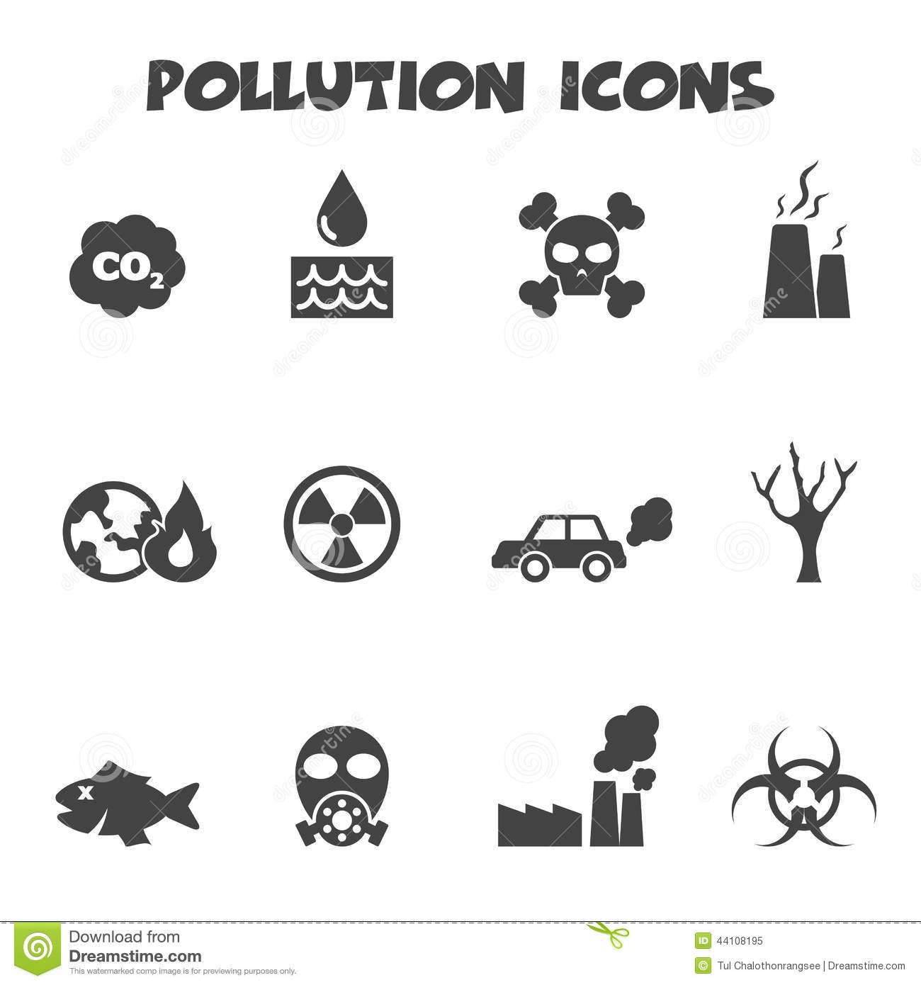 Pollution Icons Stock Vector