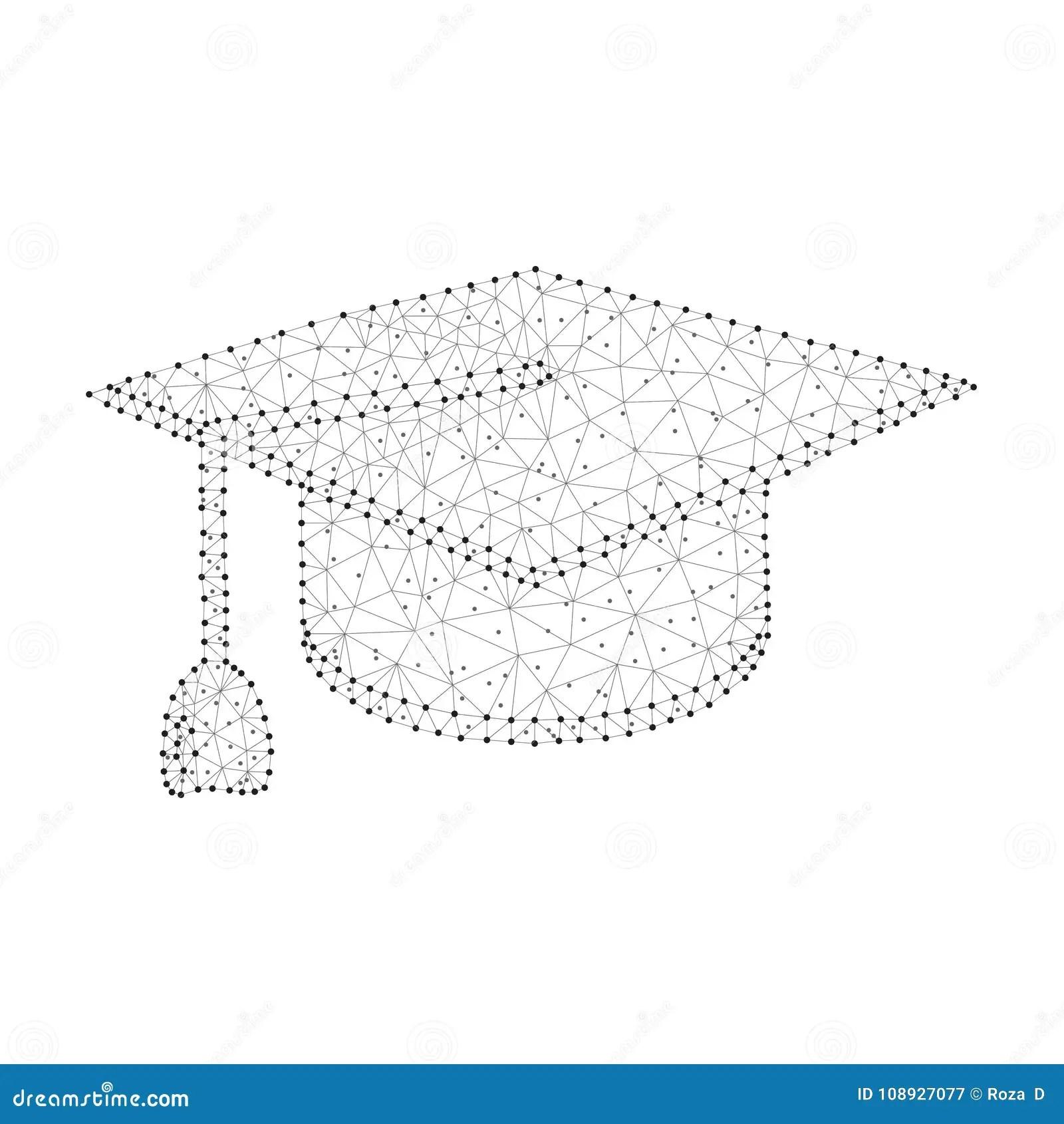 Polygonal Graduation Cap Dot Black White Stock Vector