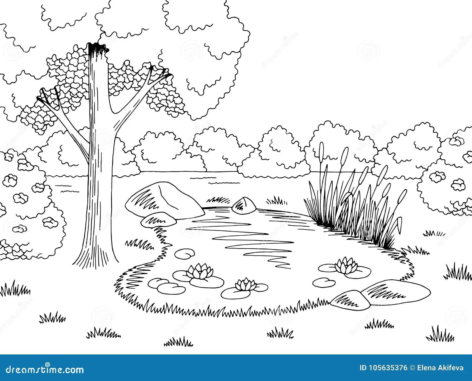 Black White Lake Stock Illustrations 5 020 Black White
