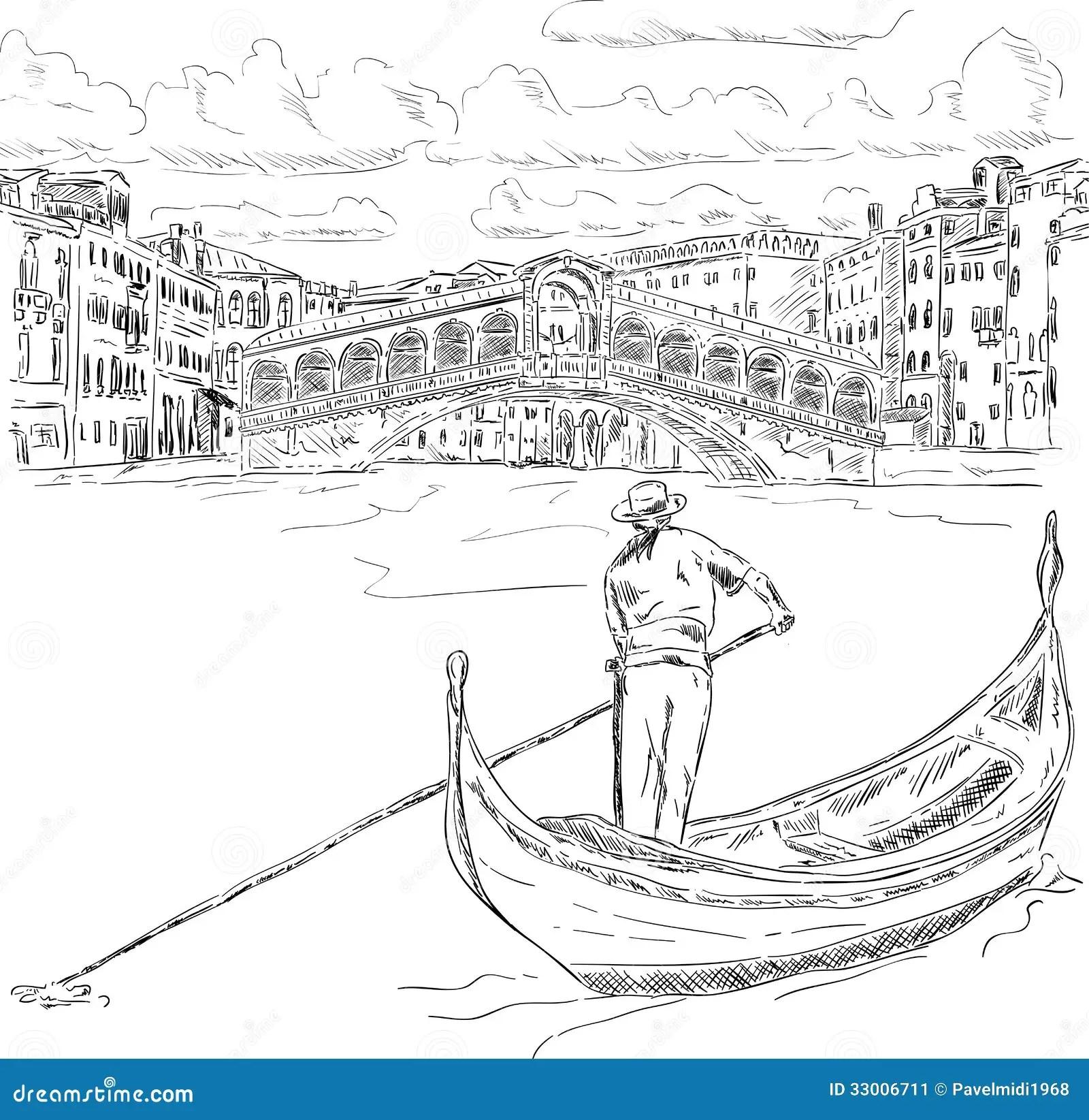 Ponte Di Rialto Con La Gondola Immagine Stock