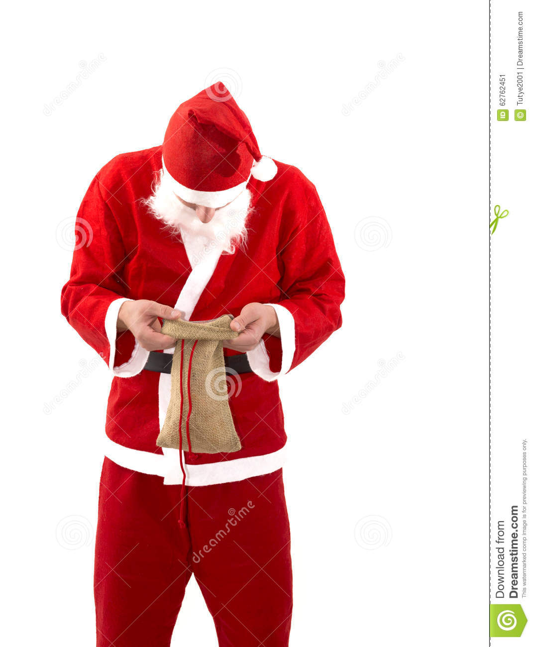 Poor Santa Claus With Empty Bag In Studio Stock Image