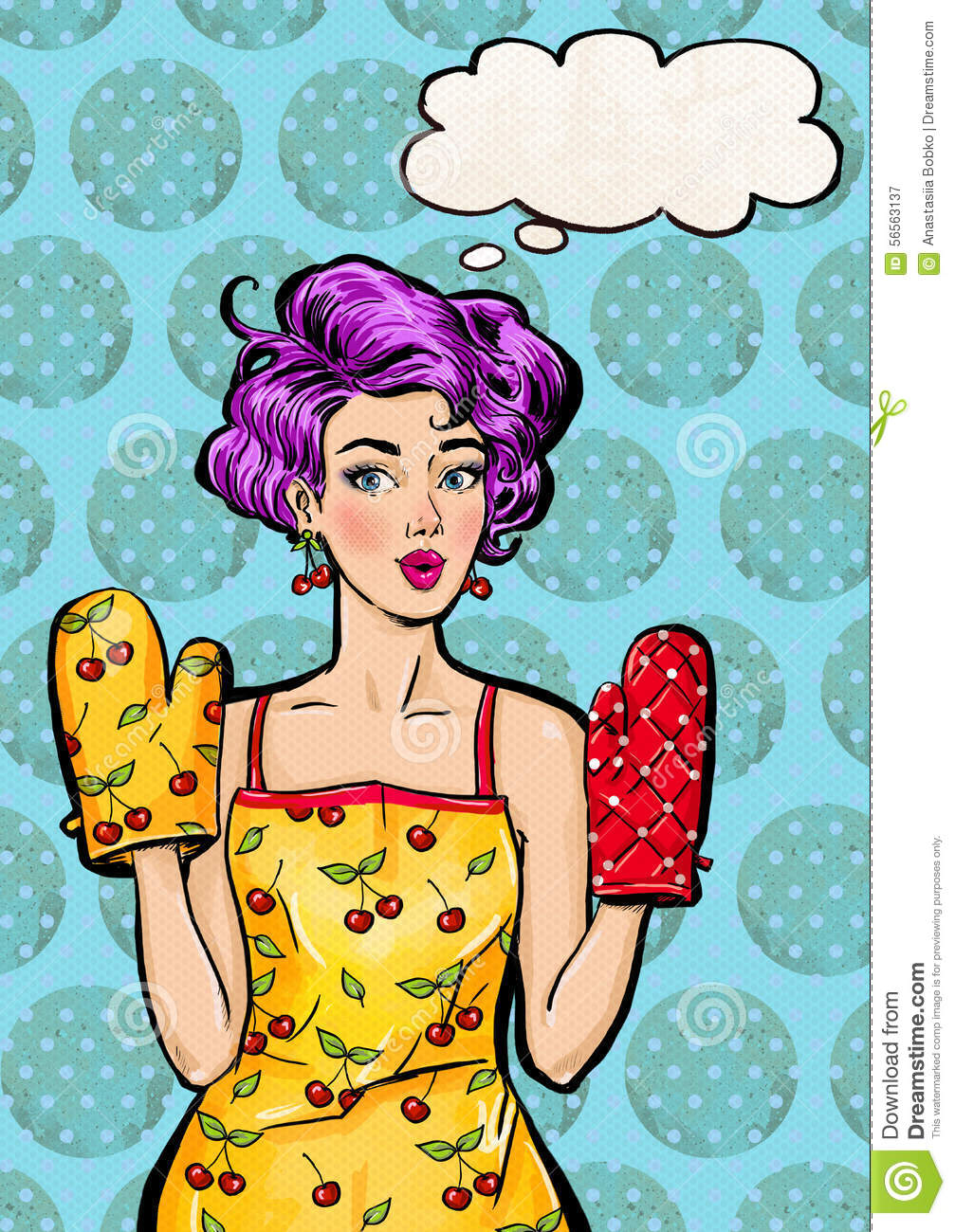 Pop Art Girl In Apron And Oven Mitts With The Speech