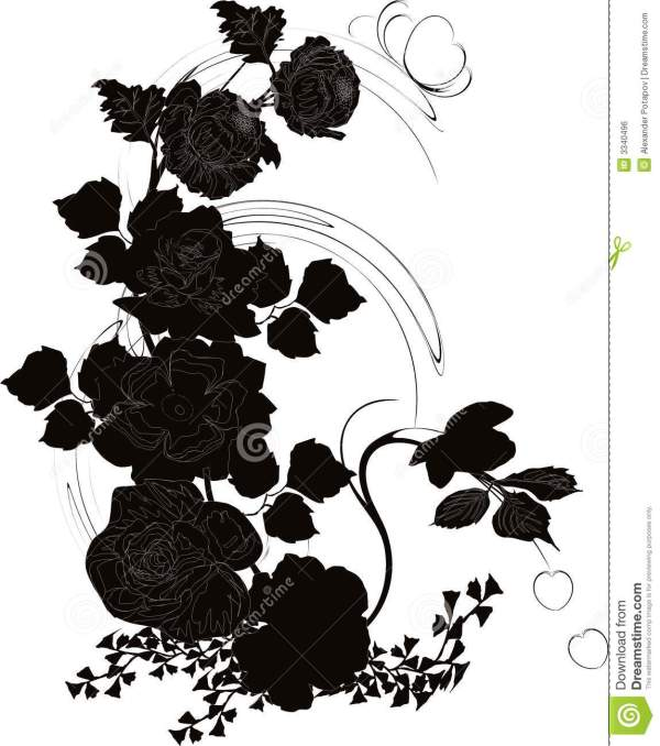 Poppy and rose silhouette stock vector Illustration of