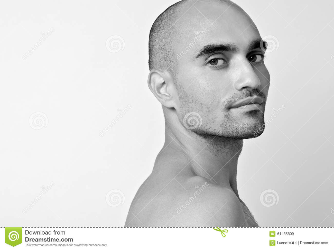 Man Looking Over The Shoulder From Profile. Royalty-Free