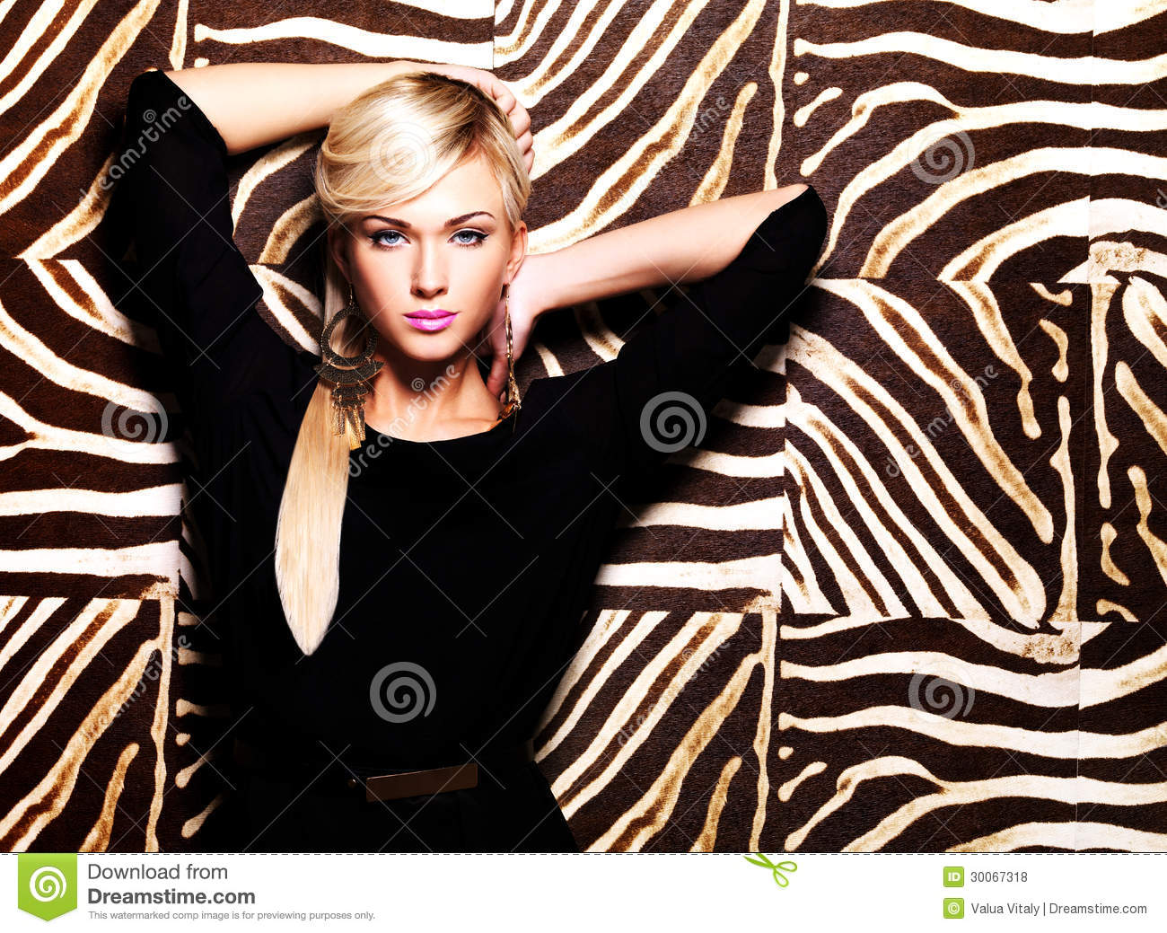 Beautiful Woman With Fashion Makeup On Face Stock Photo