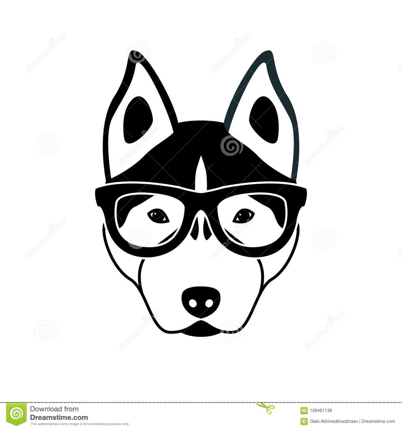 Portrait Of Husky Dog With Glasses Black And White Flat
