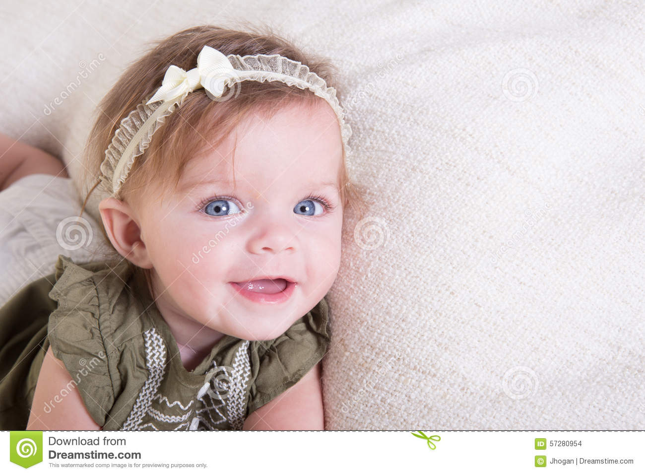Portrait Of A 6 Month Old Baby Girl On White Stock Photo