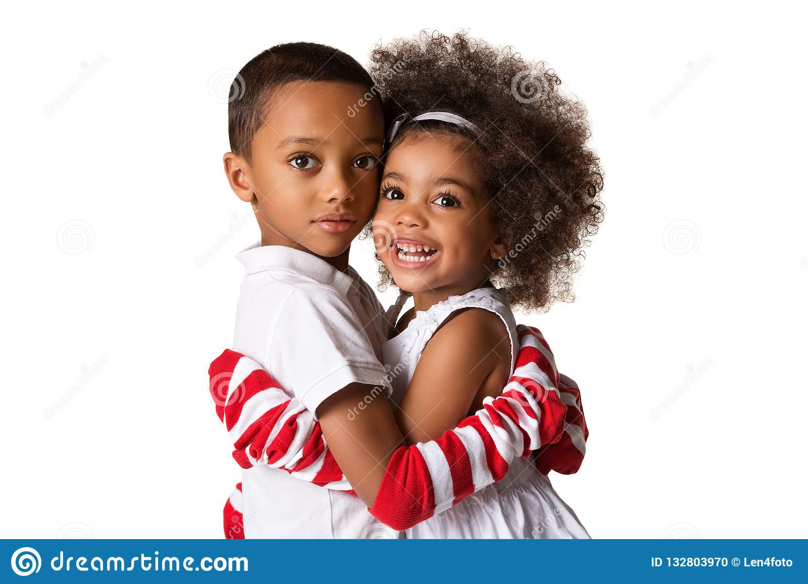 Portrait Of A Preschool African American Siblings Hugging