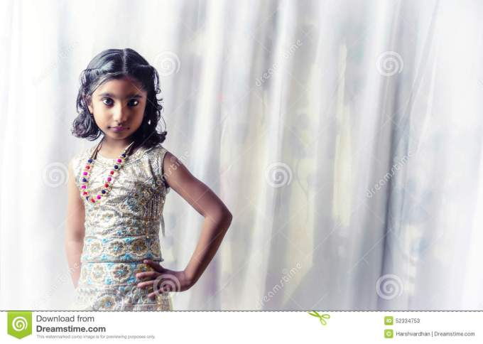 portrait of small girl child stock image - image of instudio