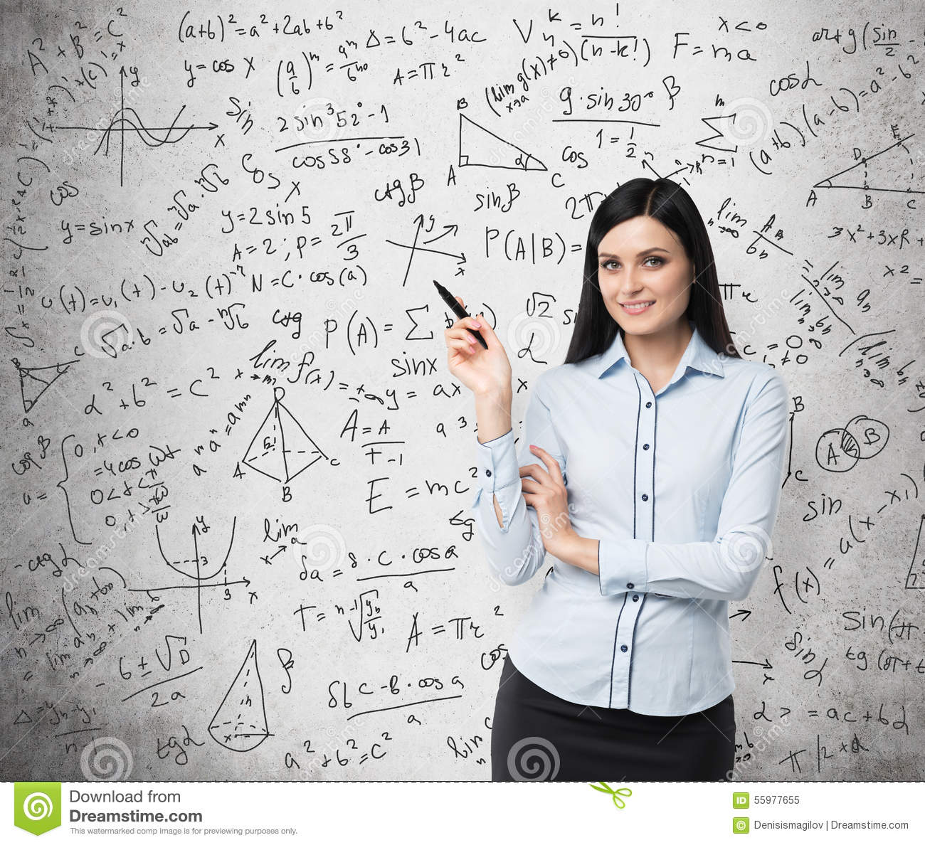Portrait Of Smiling Woman Who Points Out Complicated Math