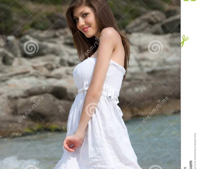 Portrait Of A Teen Girl With White Dress At The Beach Stock Photo 61927503 Megapixl