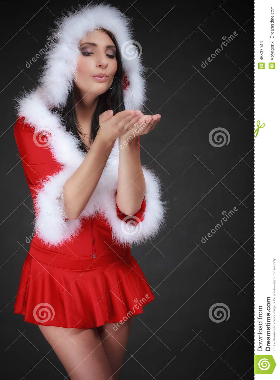 Portrait Woman Wearing Santa Clause Costume On Black Stock