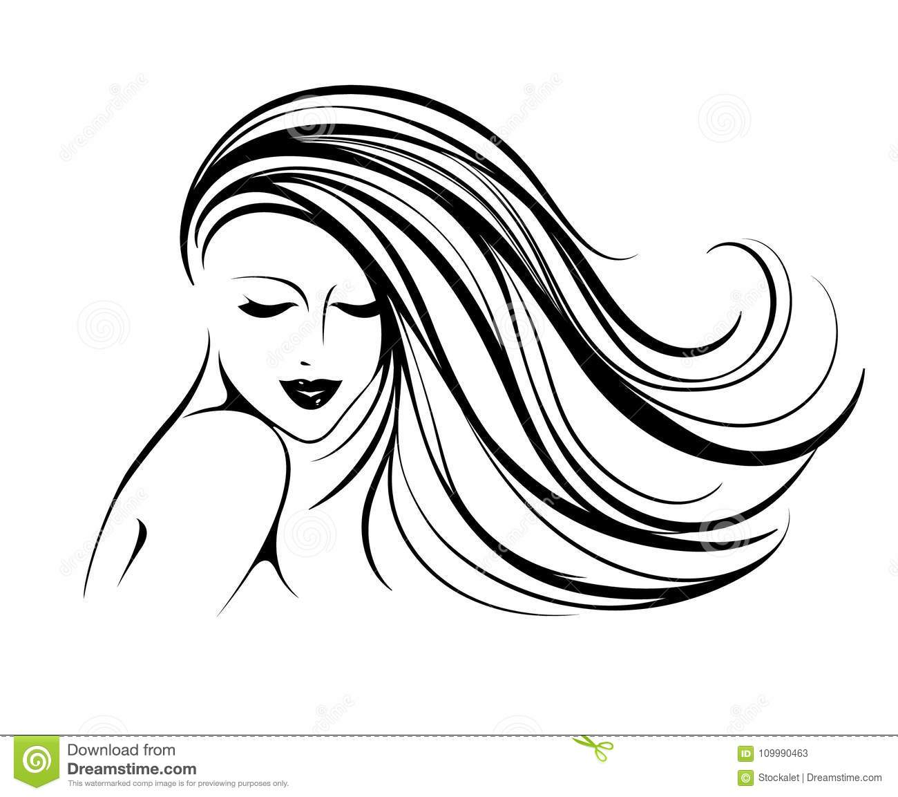 Beautiful Smiling Woman With Long Wavy Hair Makeup And