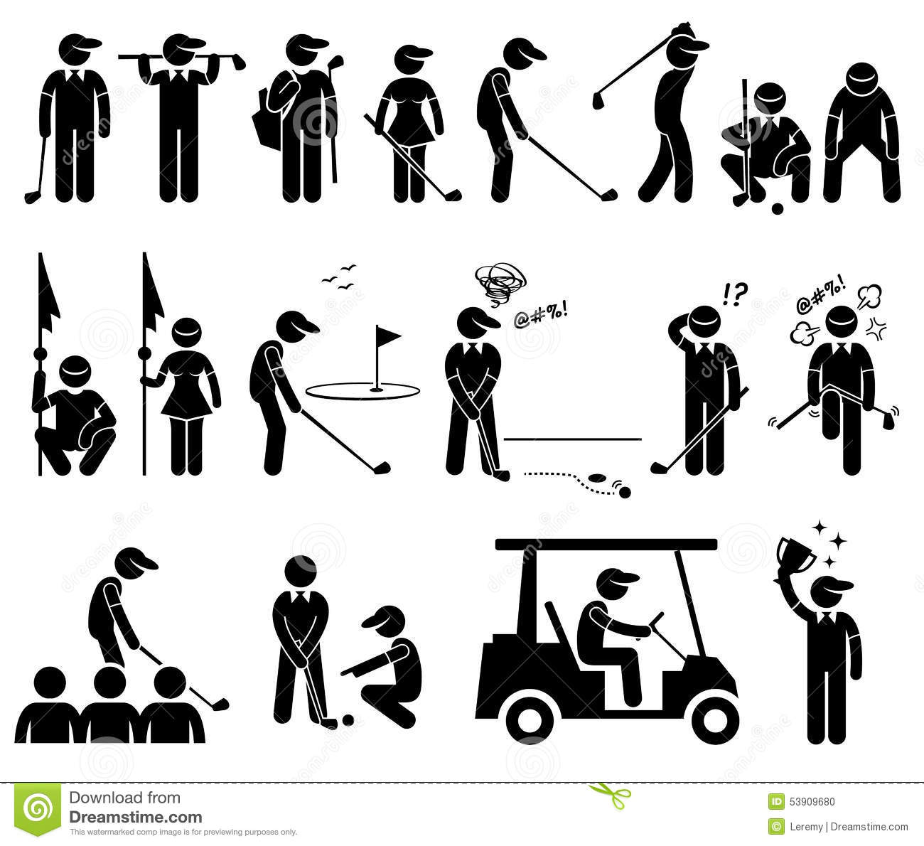 Poses Cliparts D Actions De Joueur De Golf Illustration De