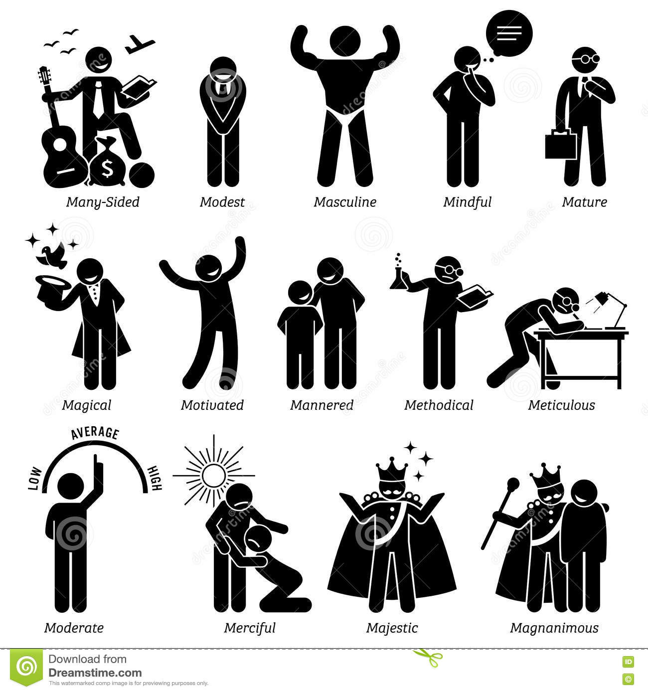 Positive Personalities Character Traits Clipart Stock