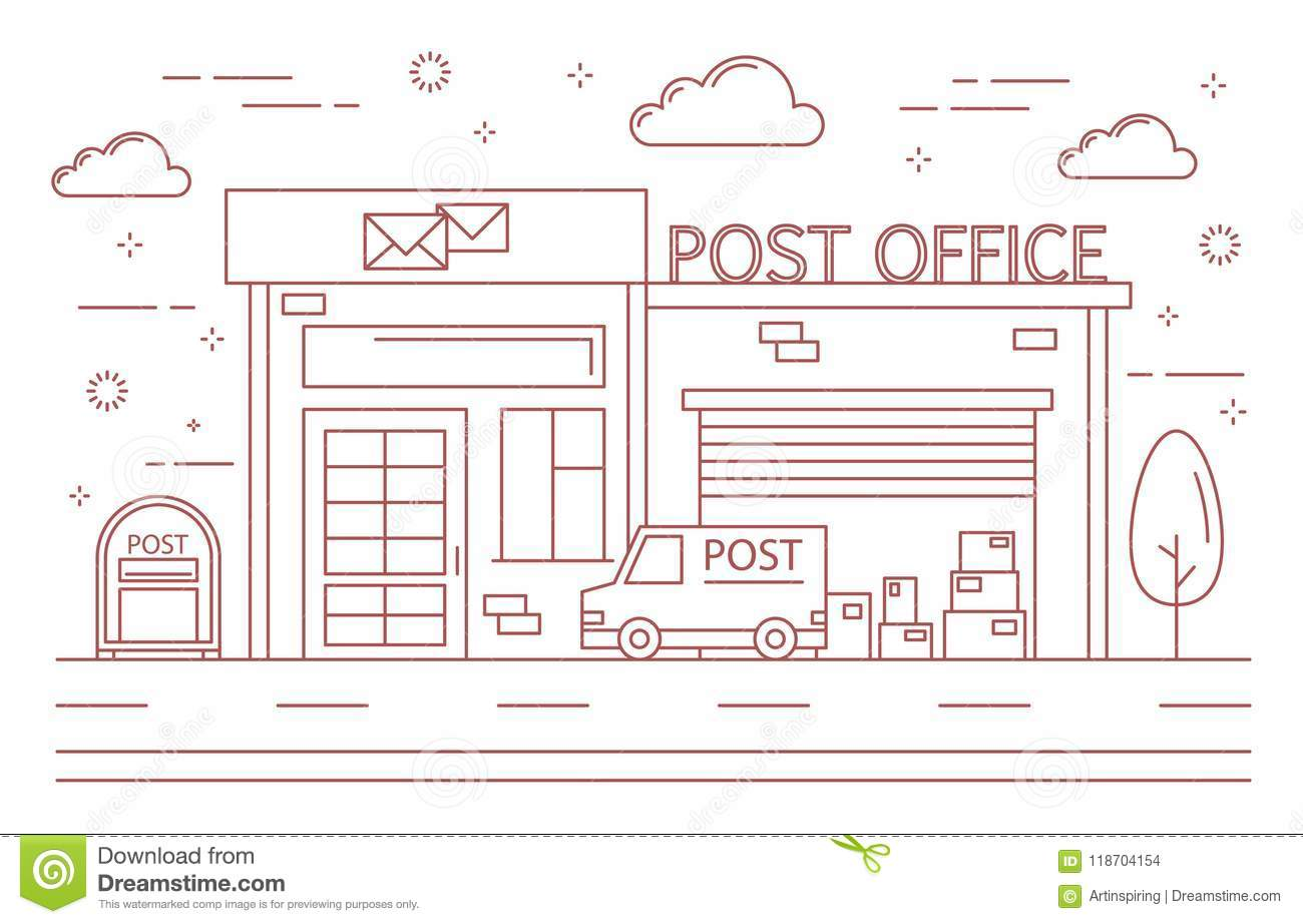 Post Office Building Stock Vector Illustration Of Icon