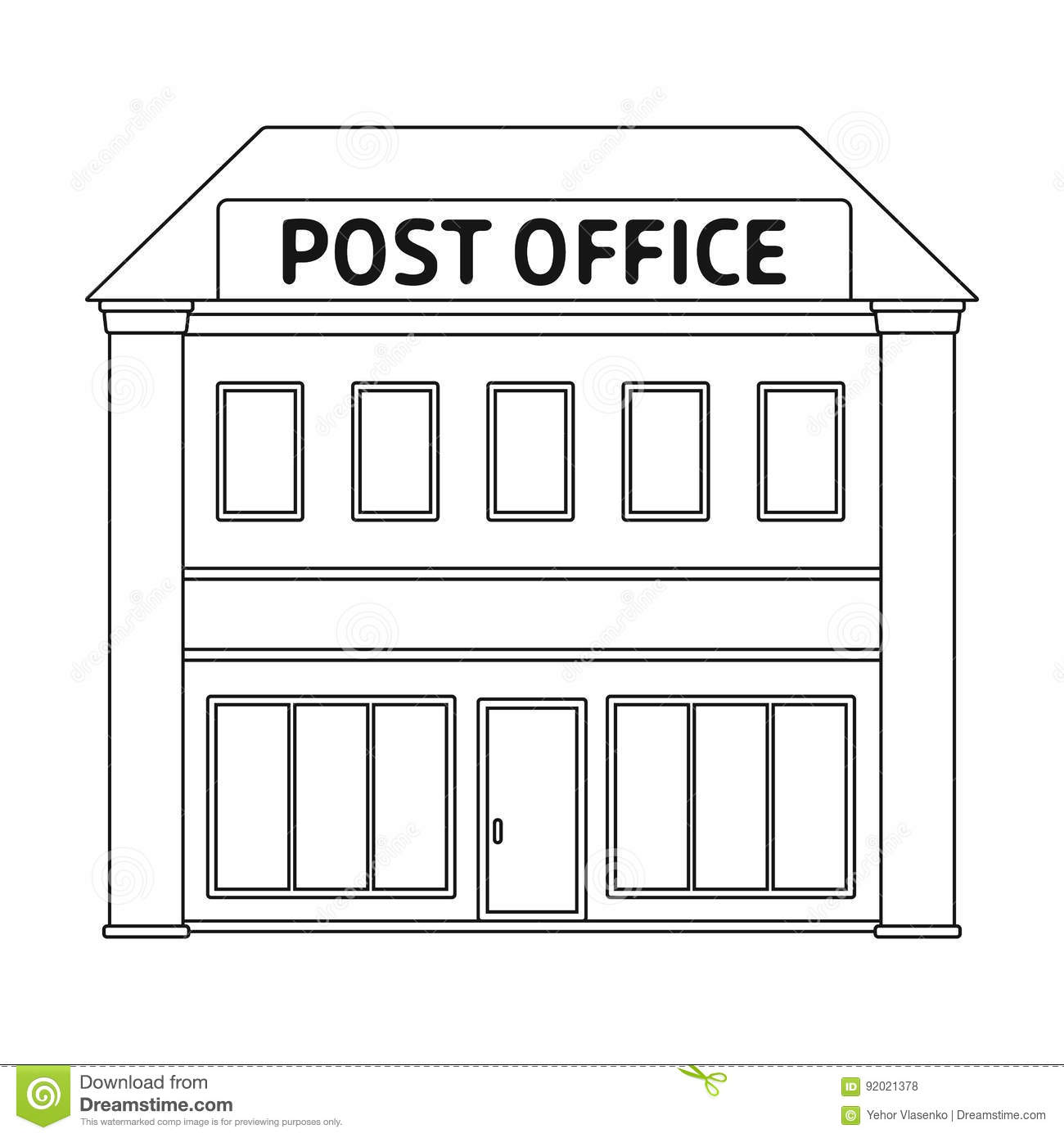 Post Office Il And Postman Single Icon In Outline Style