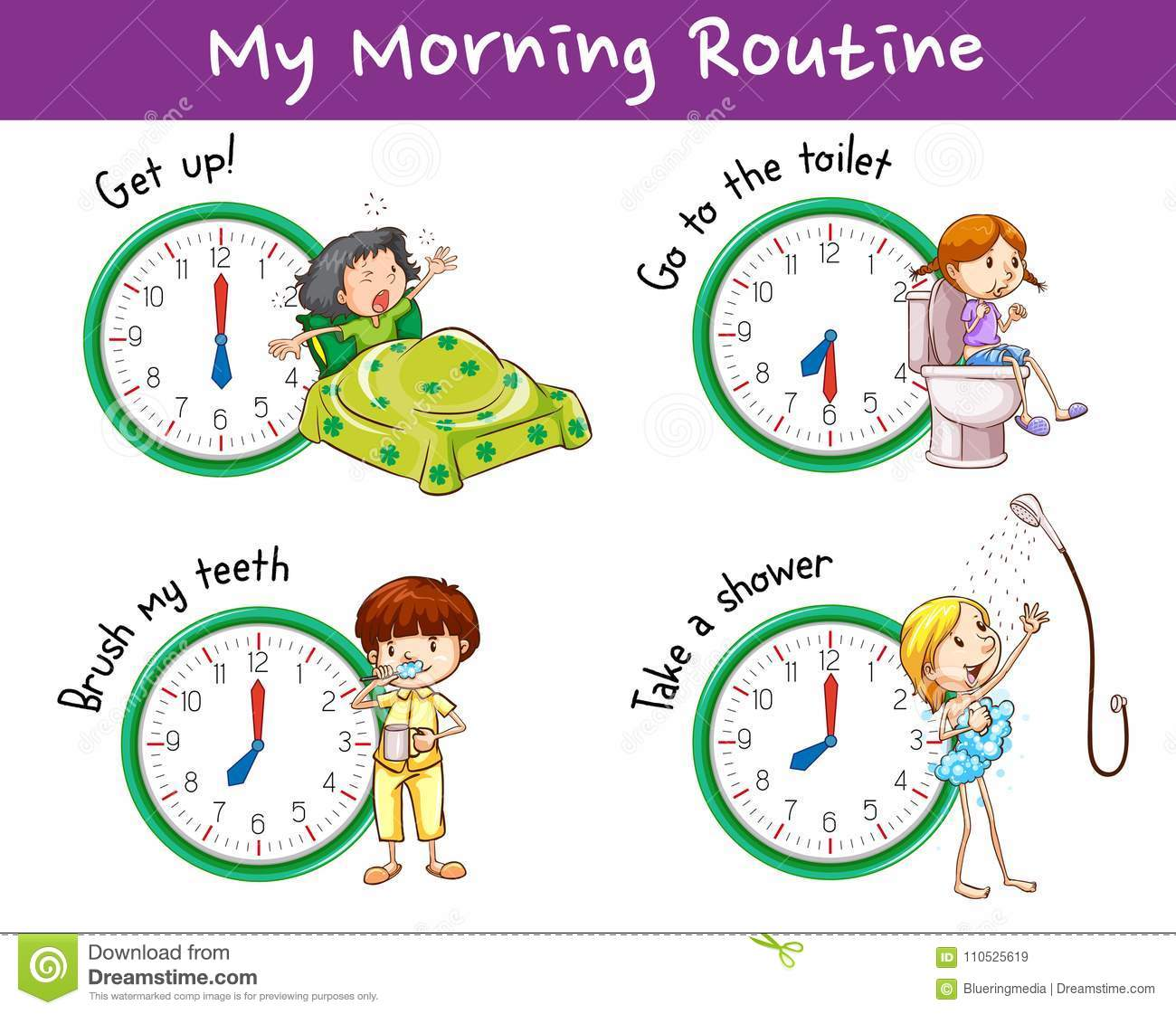 Poster Design With Morning Routine For Kids Stock