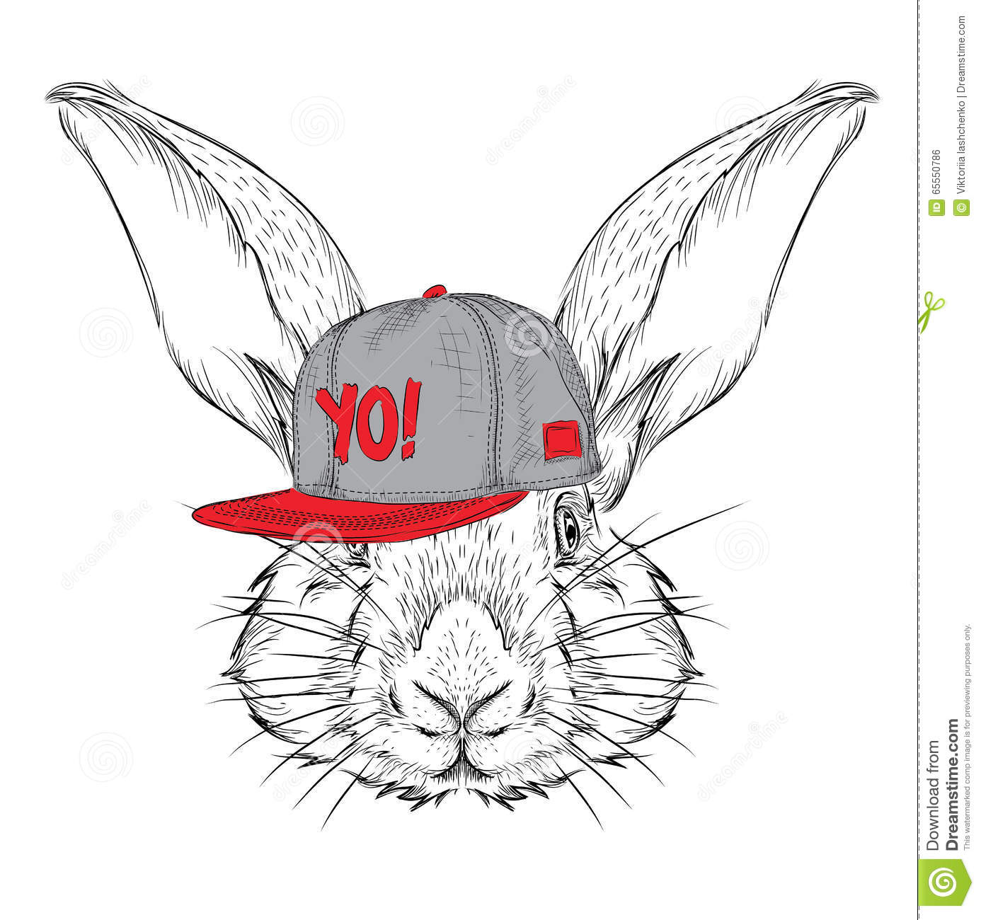 The Poster With The Image Rabbit Portrait In Hip Hop Hat