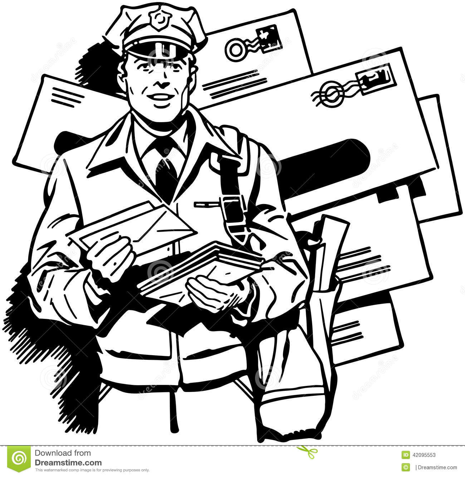 Postman Delivering Mail Stock Vector Illustration Of