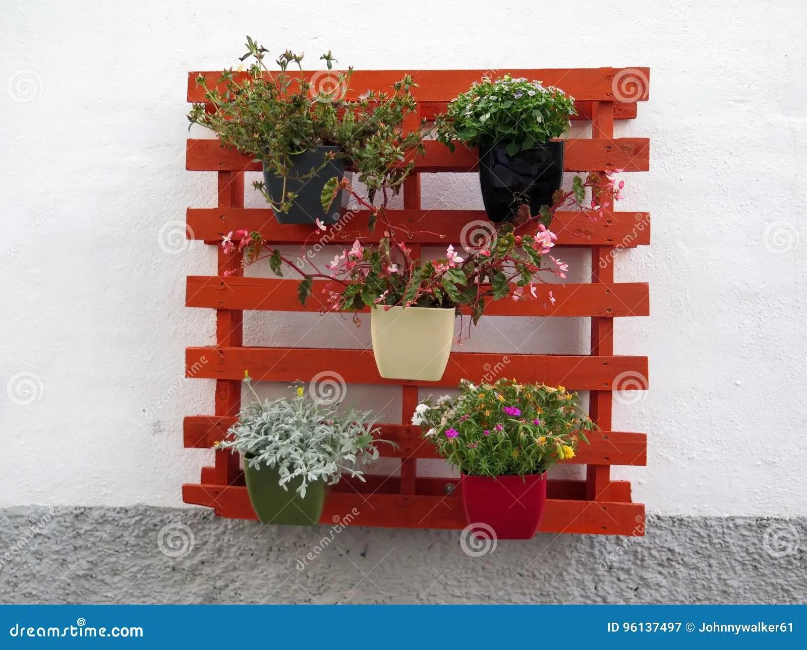 https fr dreamstime com photo stock pots fleur palette en bois peinte image96137497