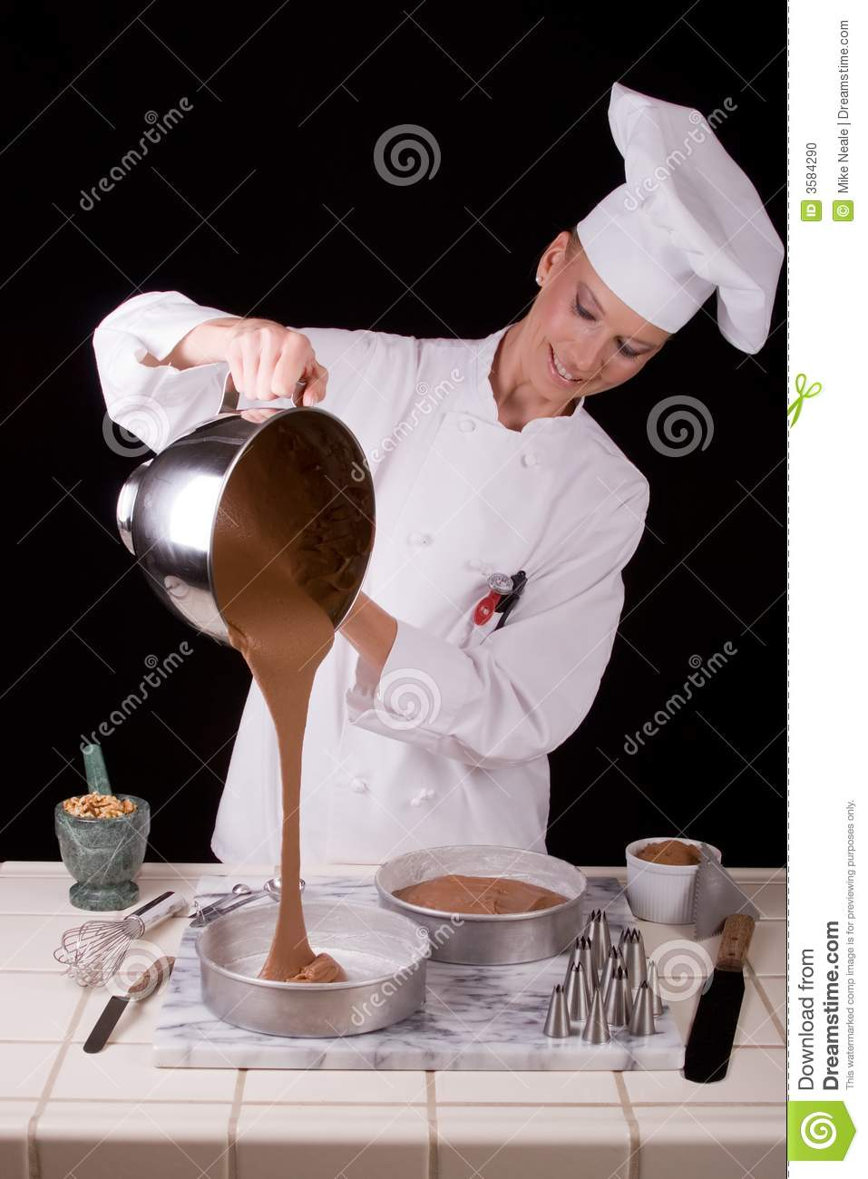 Pouring Cake Batter Stock Photo Image 3584290