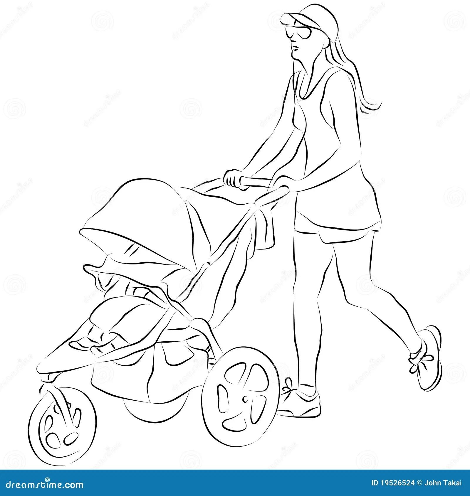 Poussette De Cheri De Pusing De Maman Illustration De
