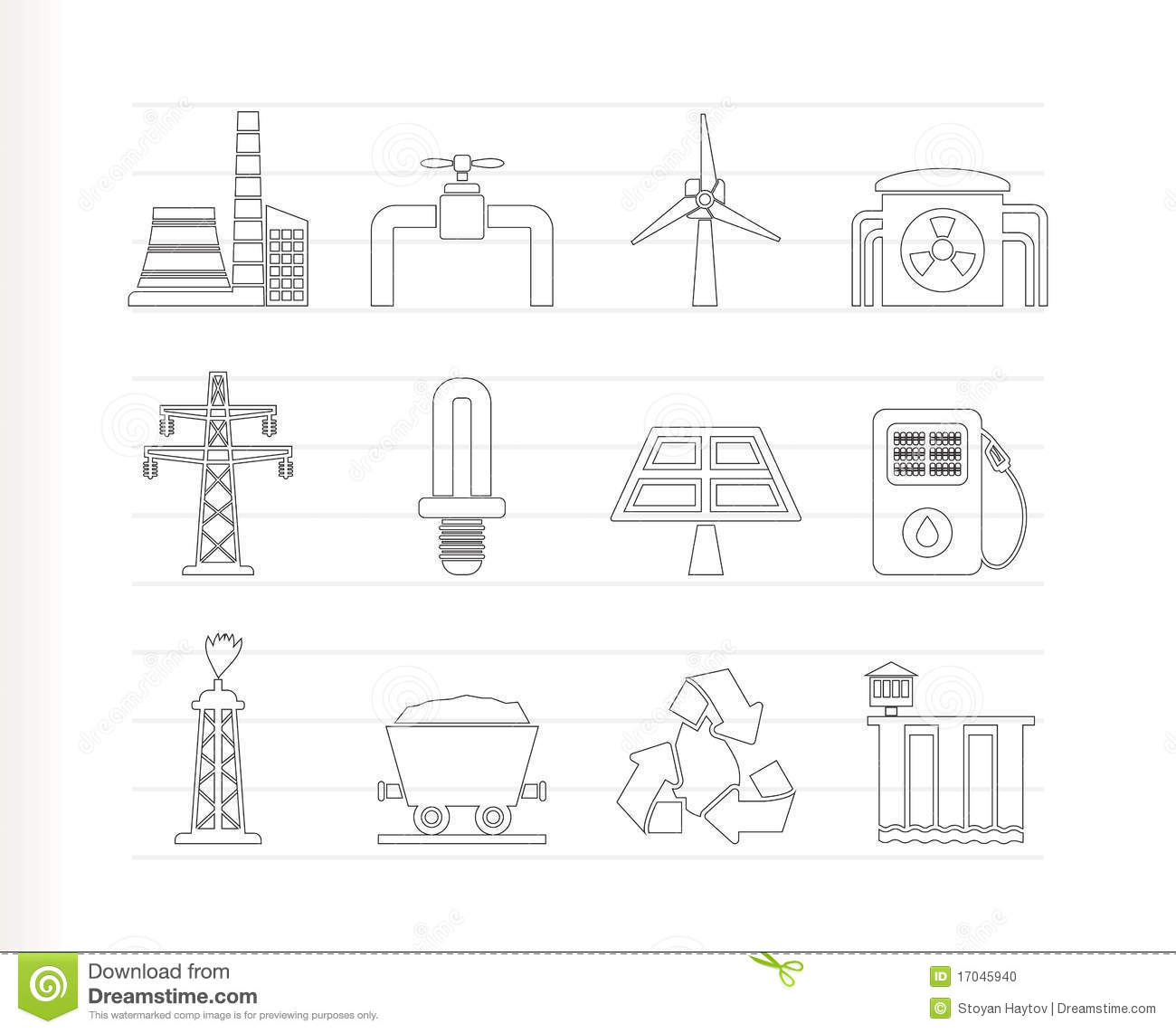 Power And Electricity Industry Icons Stock Vector