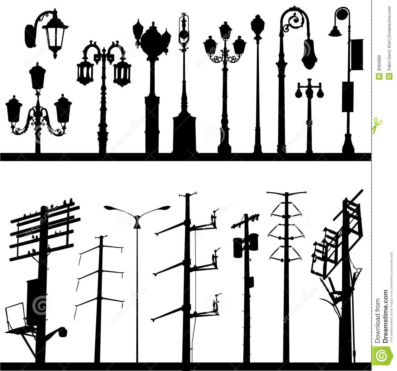 Power Line And Lamppost Vector Stock Vector