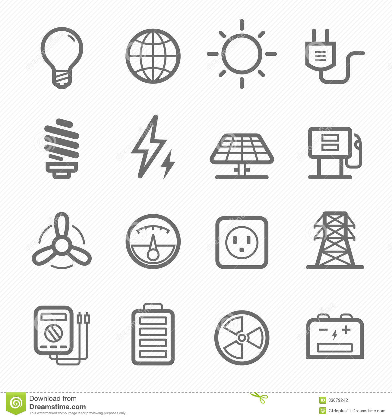 Power Symbol Line Icon Set Stock Vector Illustration Of