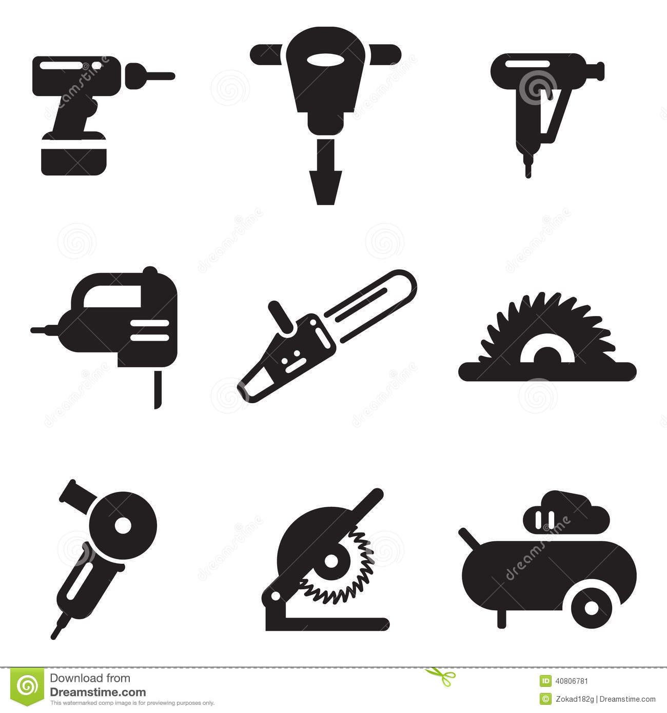 Power Tool Icons Stock Vector Illustration Of Hand Drill
