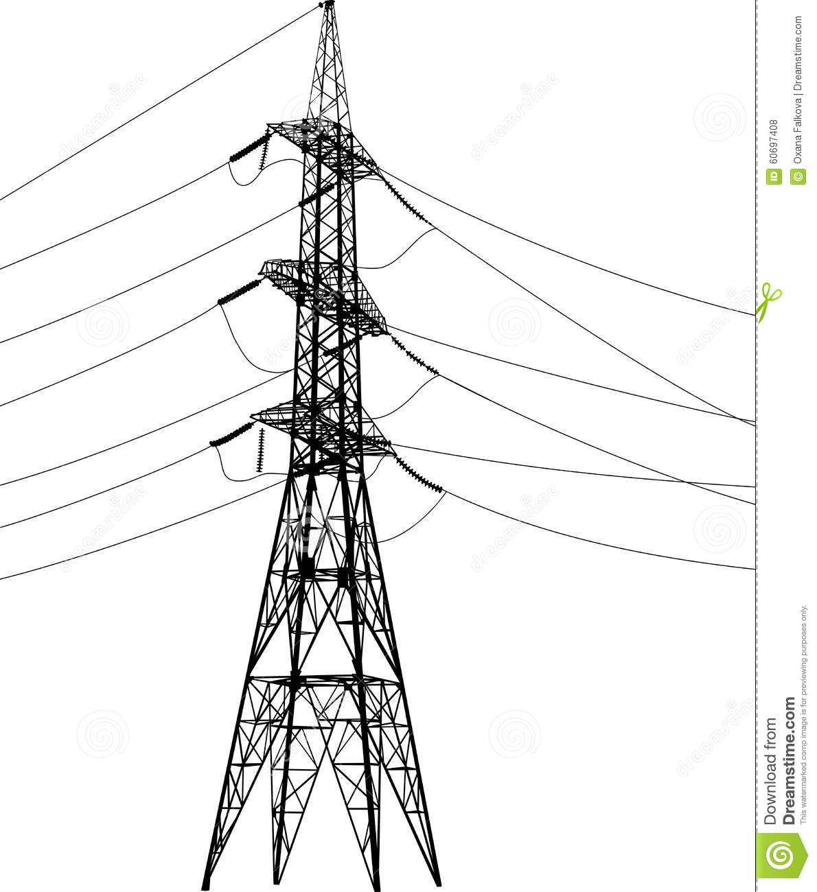 Vector High Voltage Pylons White Background Power Line