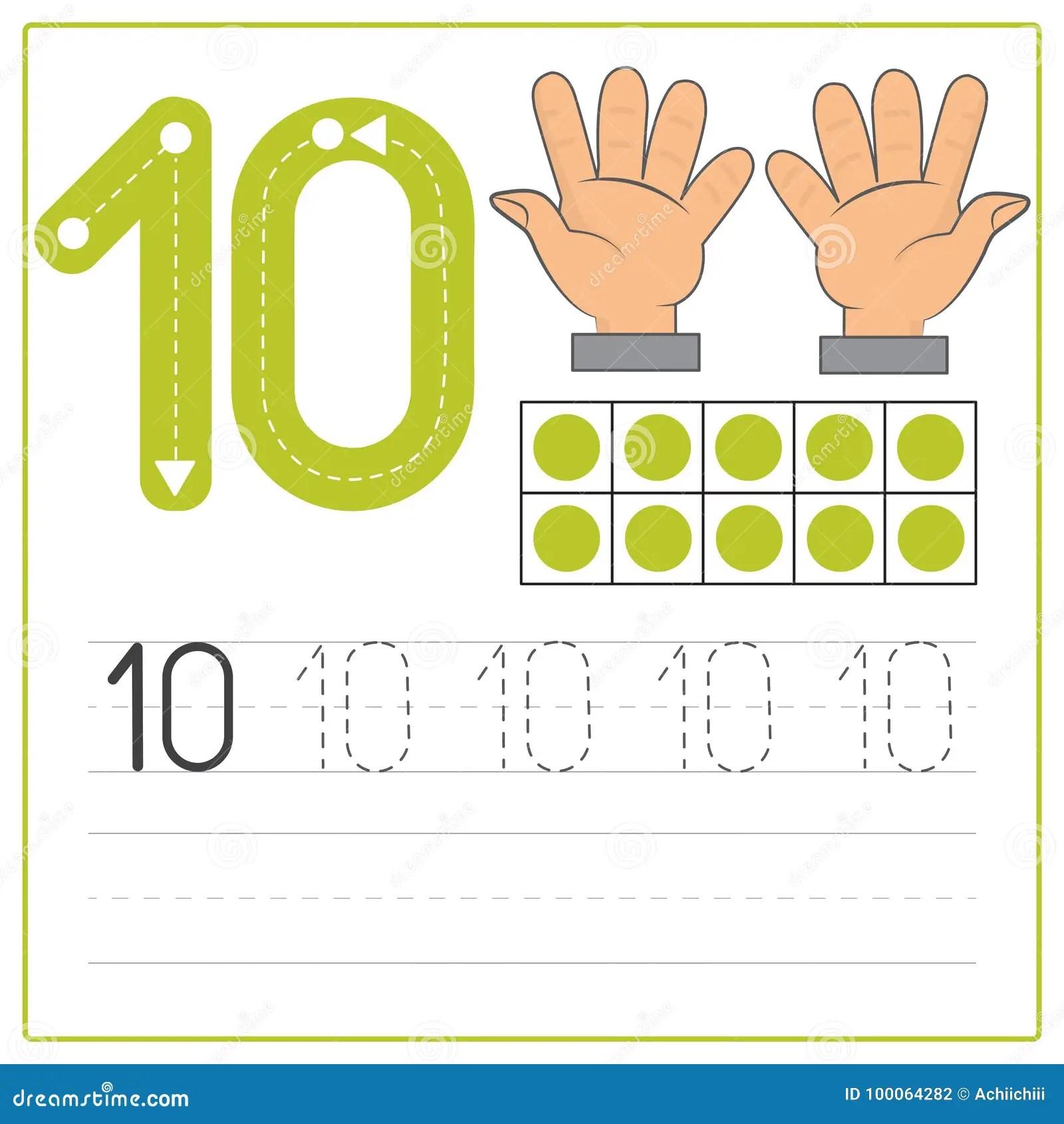 Practica 10 De La Escritura Del Numero Ilustracion Del