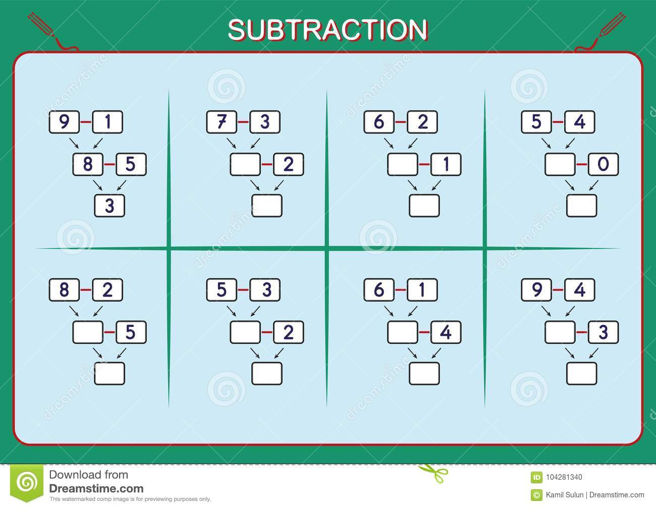 Practice Your Subtraction 0 To 10 Math Worksheet For Kids