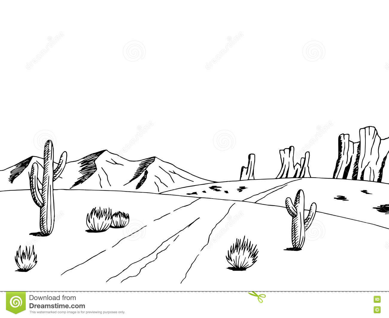 Prairie Road Graphic Art American Desert Black White