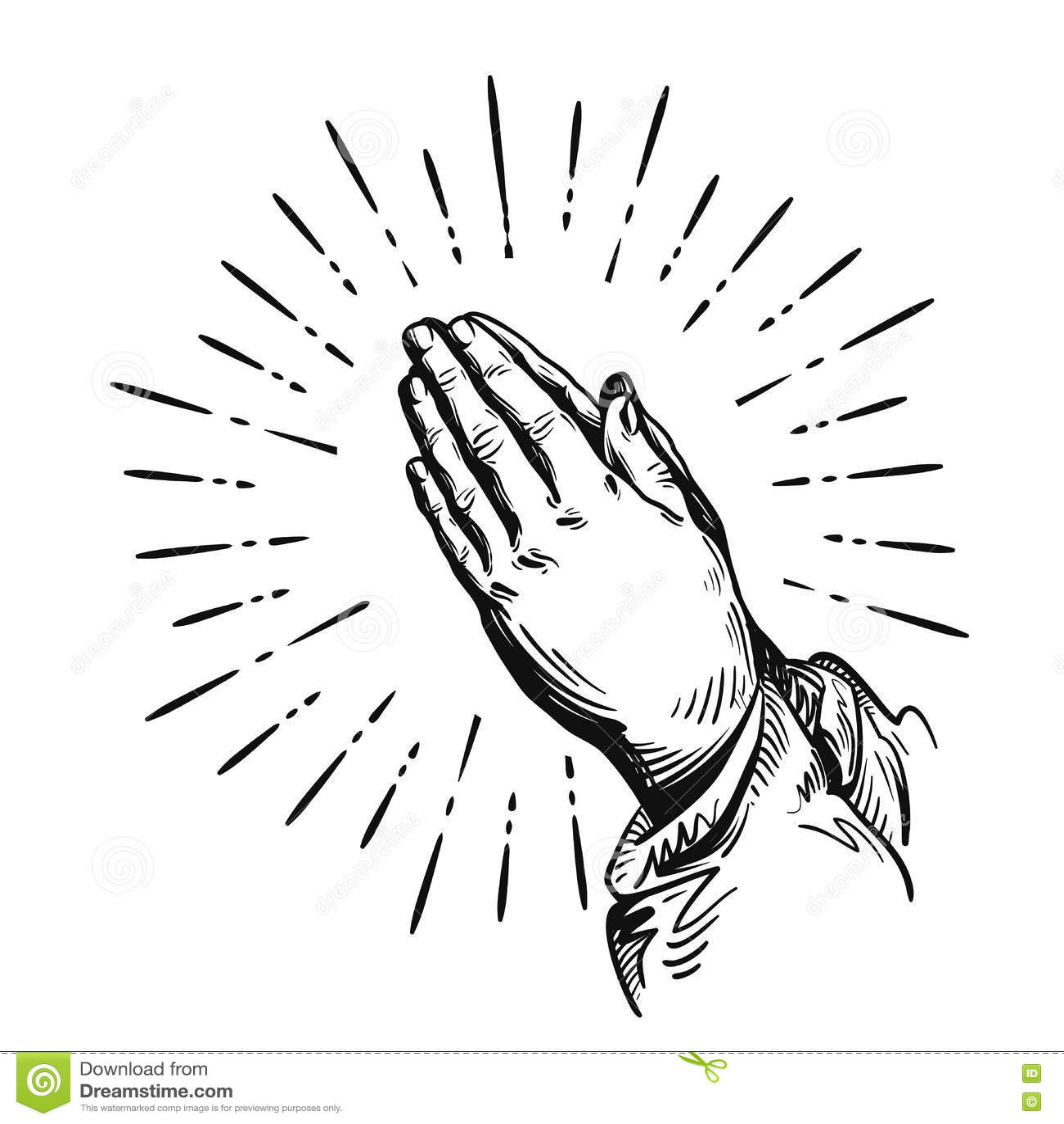 Vector Praying Hands Cartoon Vector