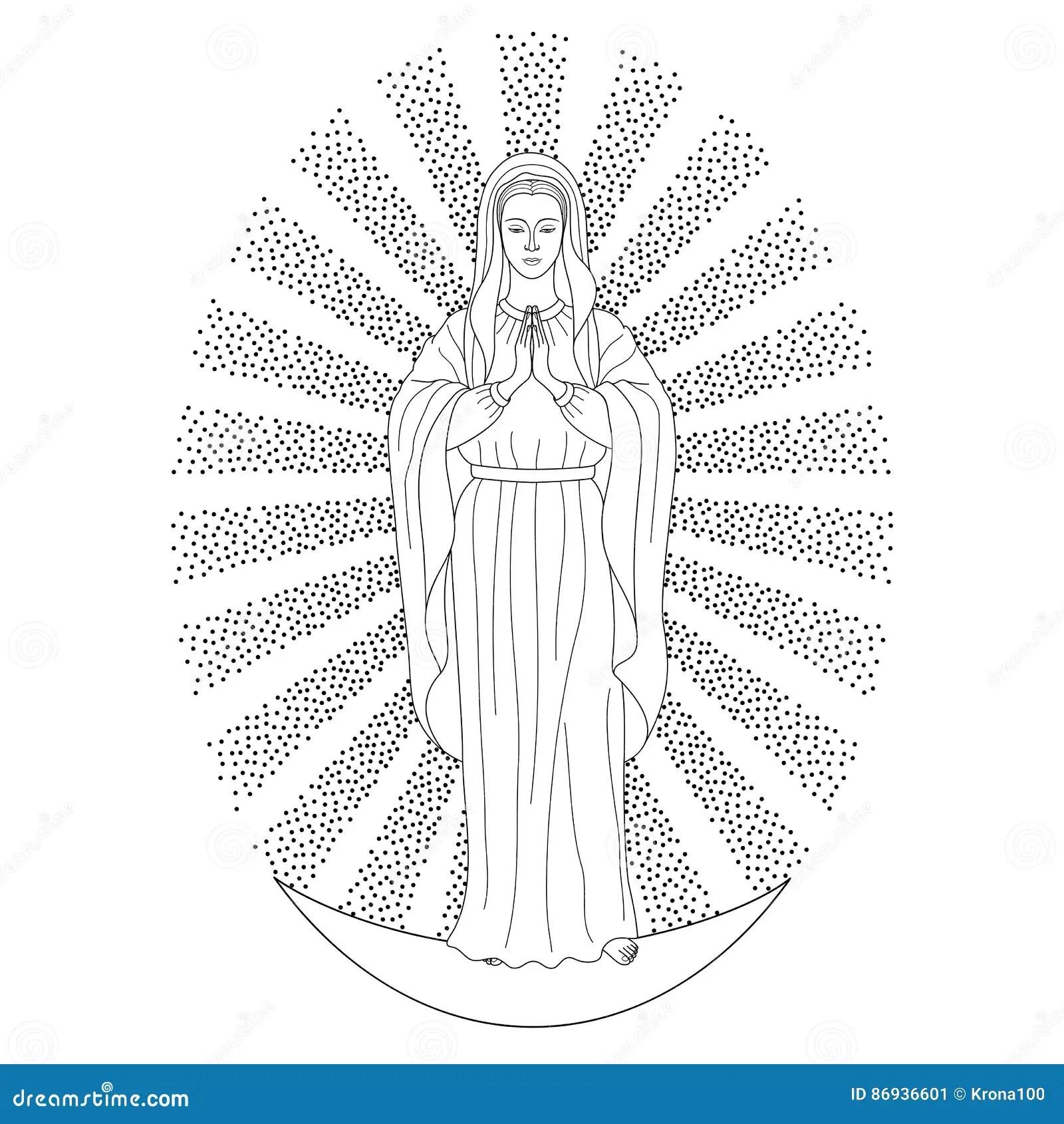 Praying Virgin Mary Stock Vector Illustration Of Catholic