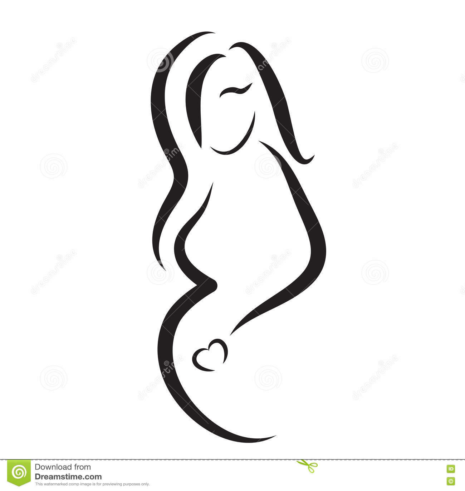 pregnant woman silhouette vector symbol stock vector