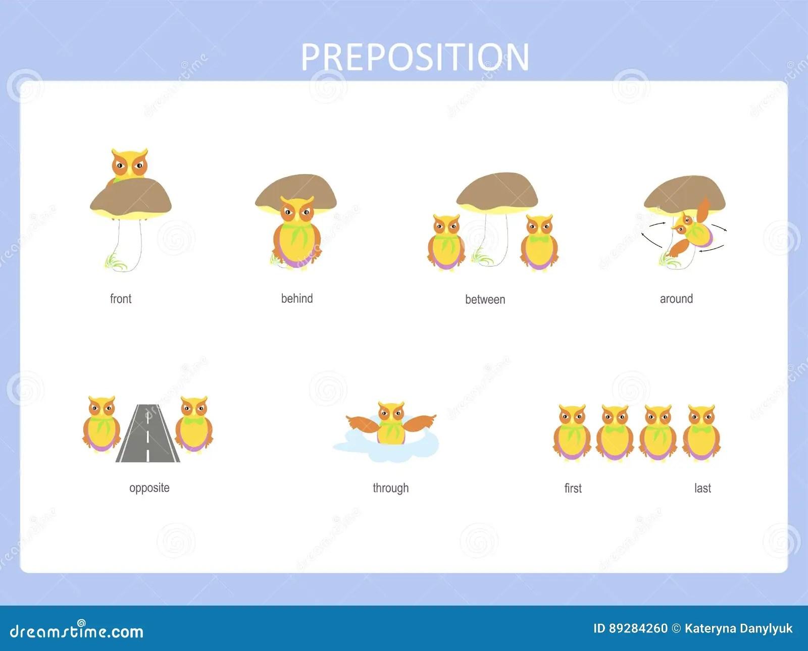 Preposition Of Motion For Preschool Worksheet Stock
