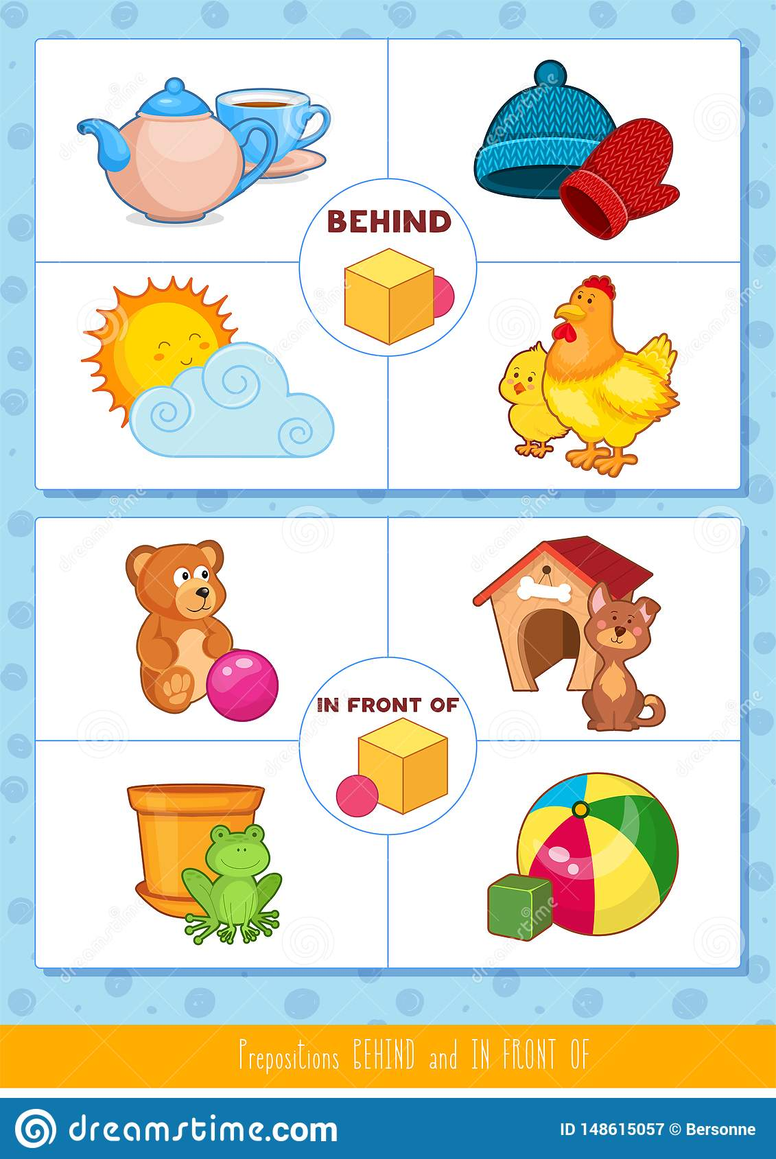 Prepositions Behind And In Front Of Stock Vector