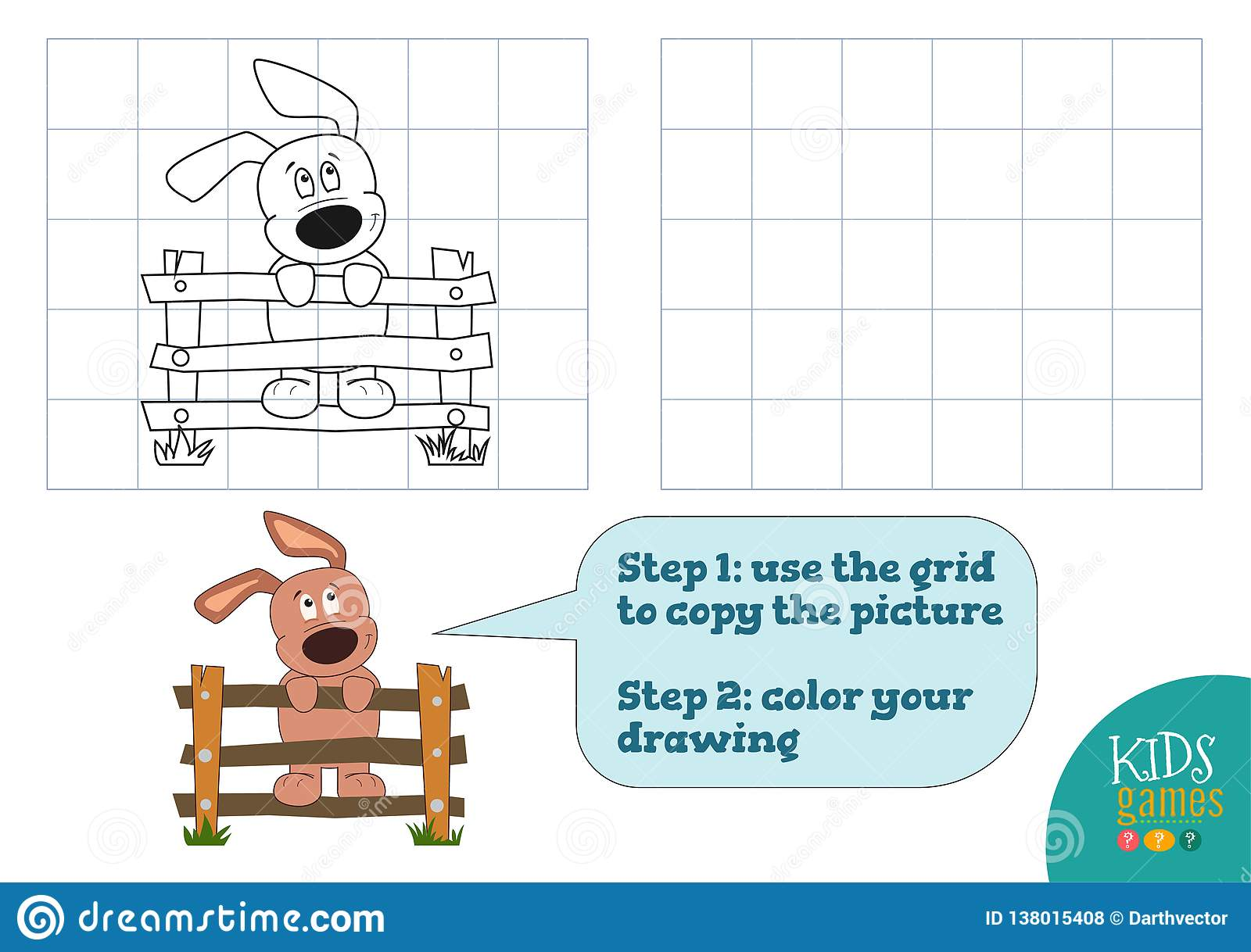 Preschool Activity With Copy And Color Picture Vector