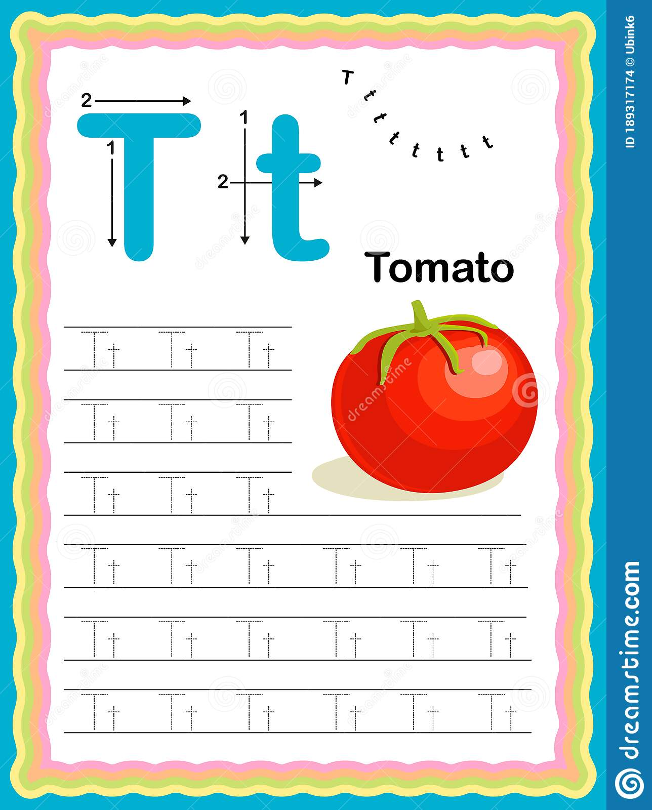 Preschool Colorful Letter T Uppercase And Lowercase