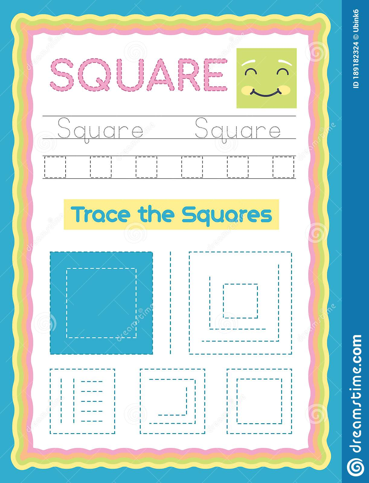 Preschool Colorful Square Shape Tracing And Writing Daily