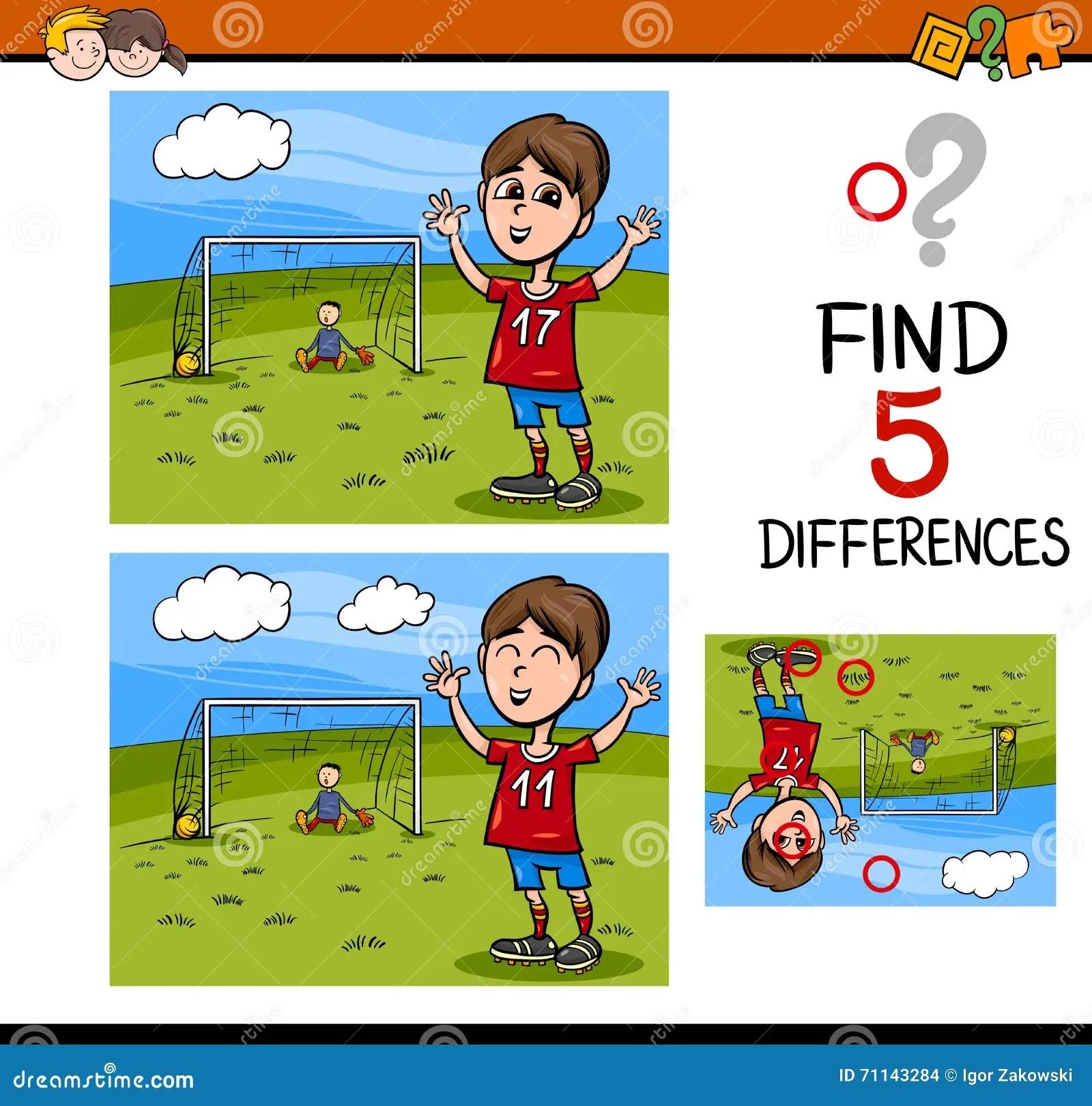 Preschool Differences Activity Task Stock Vector